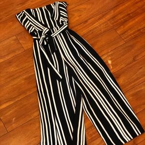 Black and white strapless cropped jumpsuit